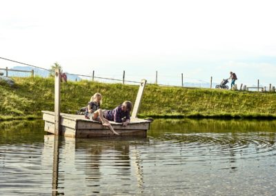 Floß fahren am Speicherteich im Raurisertal