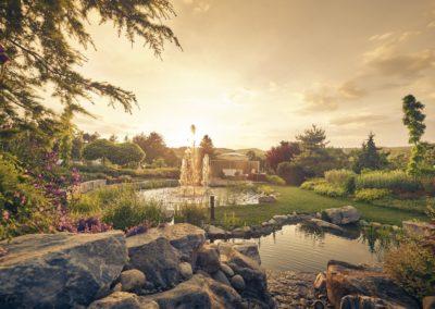 Sonnenuntergang in den Kittenberger Erlebnisgärten